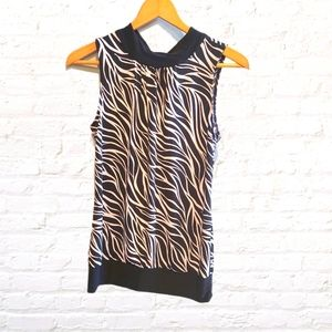 Tempted Sleeveless Zebra Print Top With Back